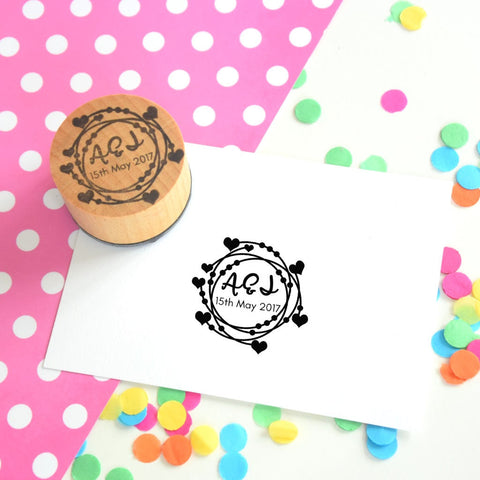 Personalised Loops and Hearts Couple Wedding Favour Stamp