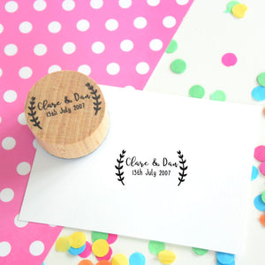 Personalised Laurel Border Couple Wedding Stamp