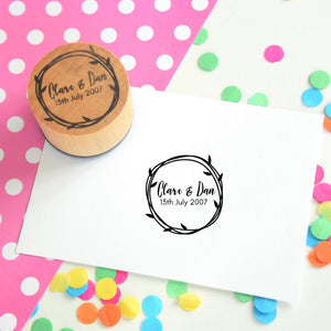 Personalised Leaves and Circles Couple Wedding Favour Stamp