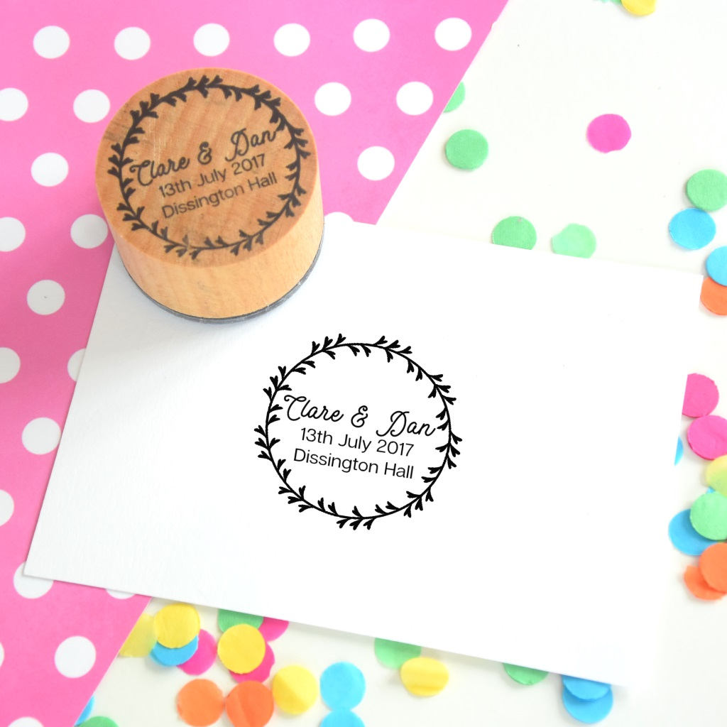Personalised Decorative Leaves Couple Wedding Rubber Stamp