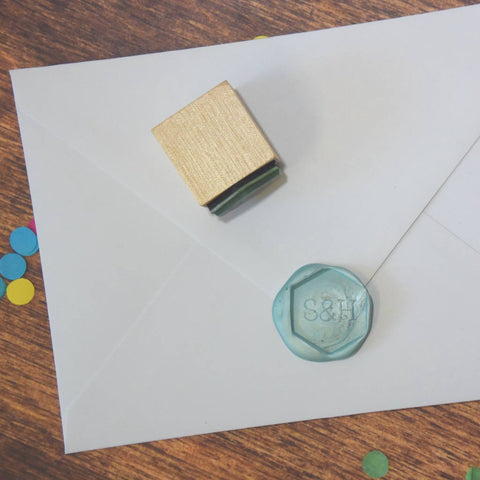 Personalised Hexagonal Monogram Wax Seal Stamp - Serif
