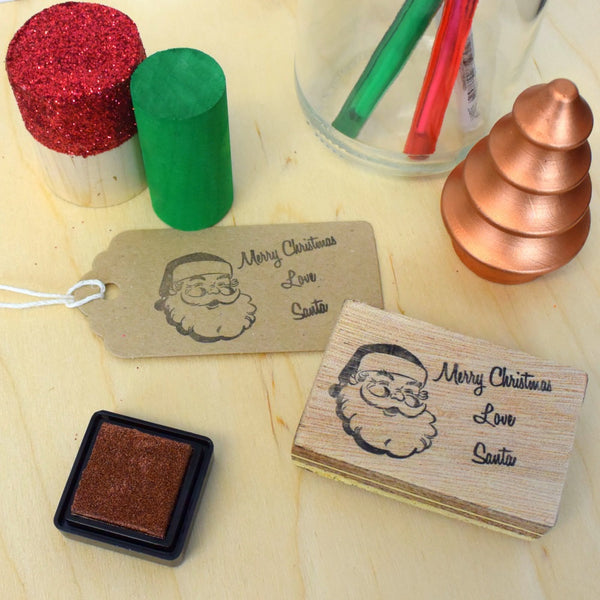Merry Christmas love Santa rubber stamp