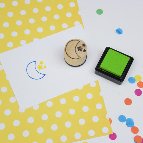 Moon and Stars Mini Rubber Stamp