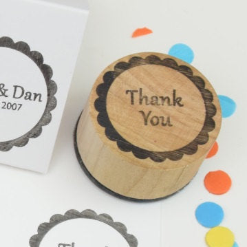 Thank You Scalloped Circle Wedding Rubber Stamp