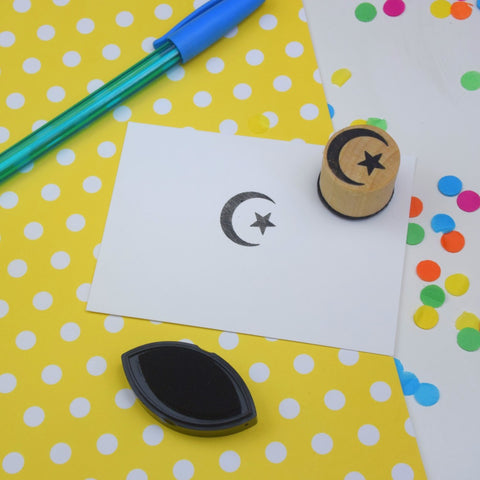 Islamic Crescent Moon and Star Mini Rubber Stamp