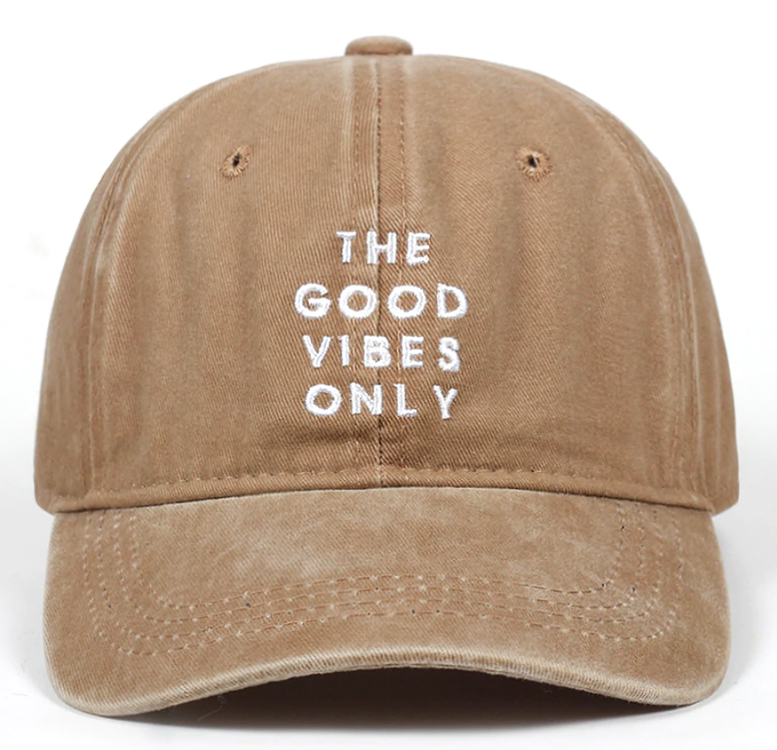 Good Vibes Only Distressed Dad Hat