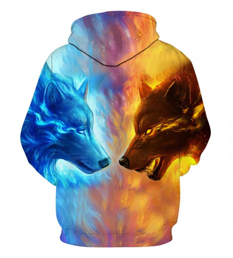 Fire and Ice Wolf Hoodie