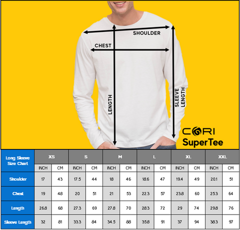CORI SuperTee Unisex Long Sleeve Size Chart