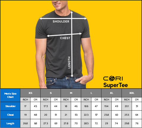 CORI SuperTee Men Short Sleeve Size Chart