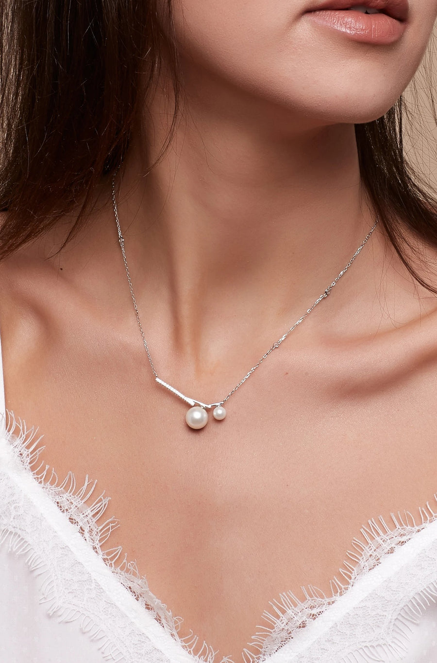 Abstract Pearl Charm Necklace
