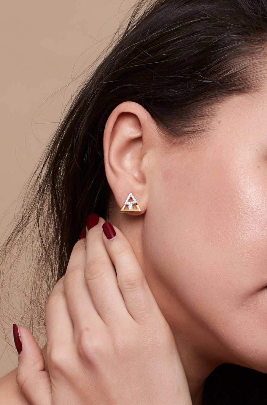 Gold Layered Triangle Posts Earrings