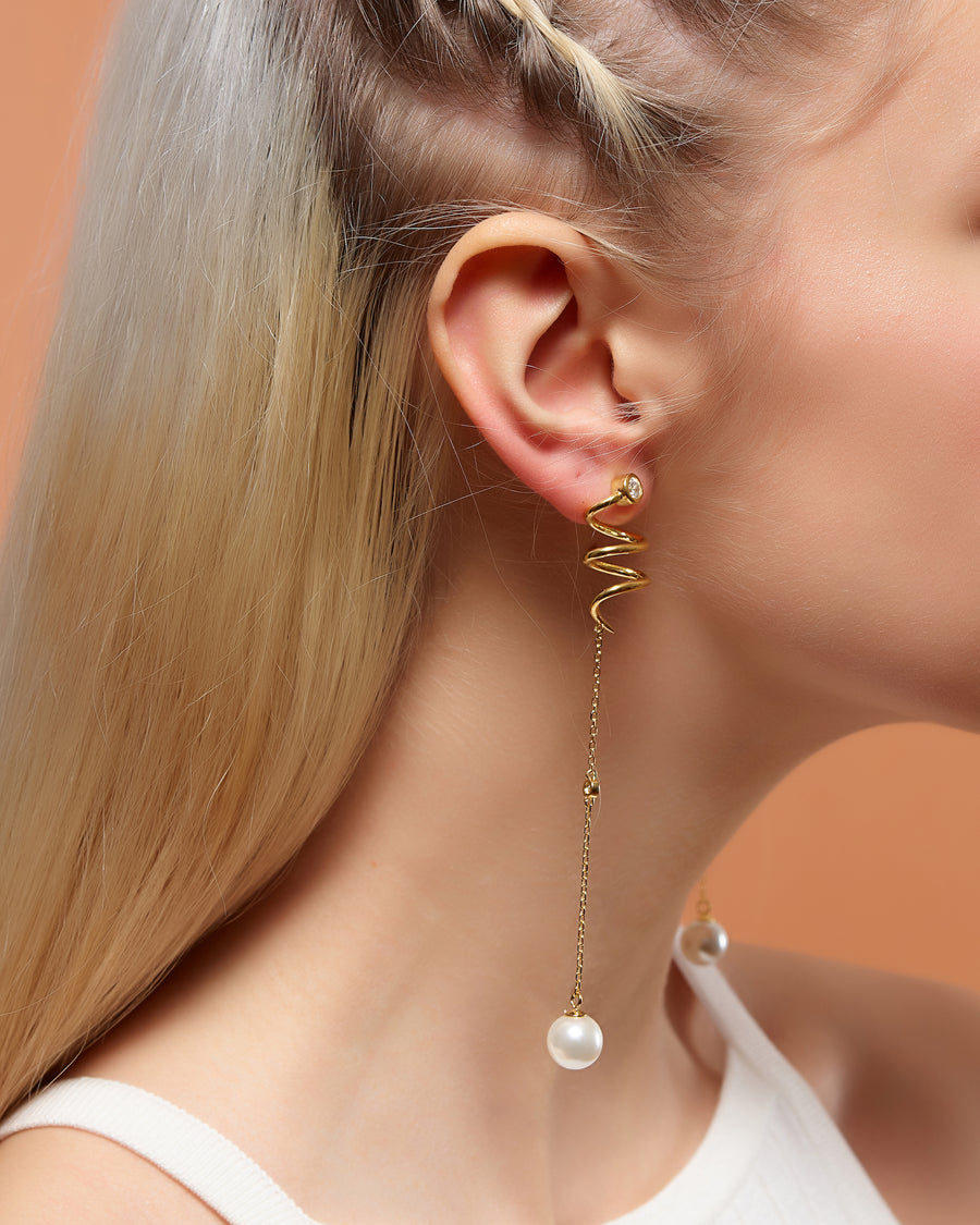 Pearl Swirl Asymmetrical Drop Earrings