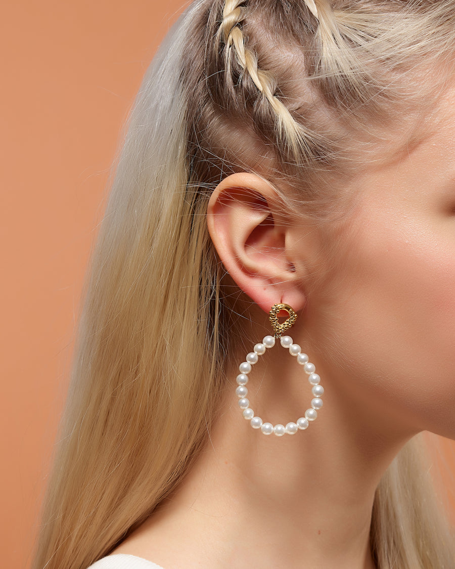 Pearl Teardrop Hoop Earrings