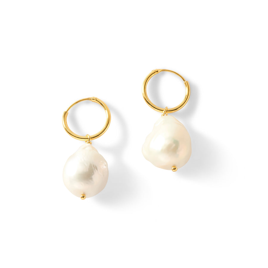 Small Gold Huggies with Pearl Drop