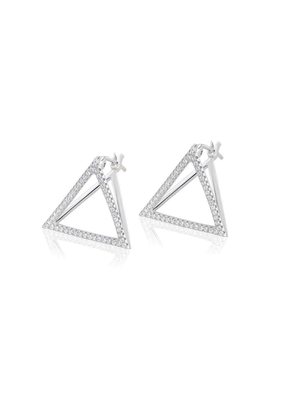 3-D gemstone Triangle Earrings