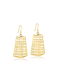 Cross hatch gold drop earrings