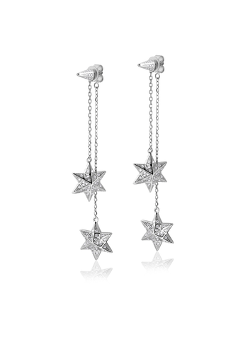 Silver etched star chandelier earrings