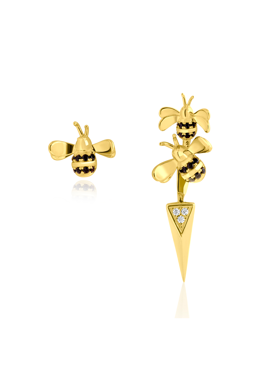 Mismatched Bee Earrings