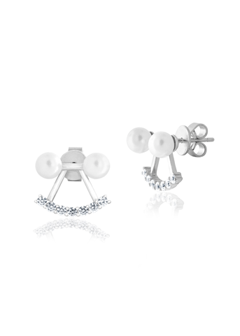 Silver pearl statement earrings