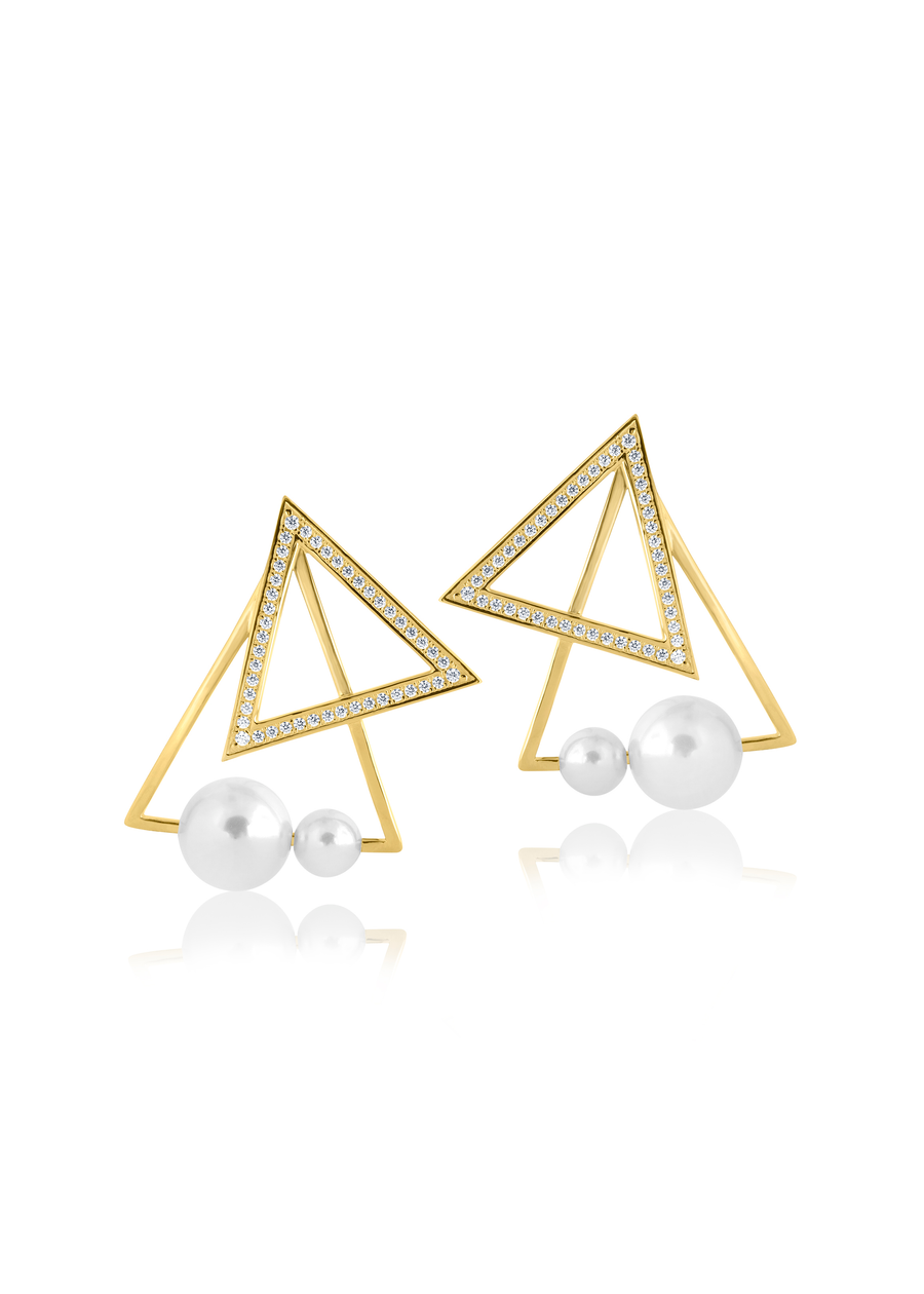 Pearl Accent Triangle Posts Earrings