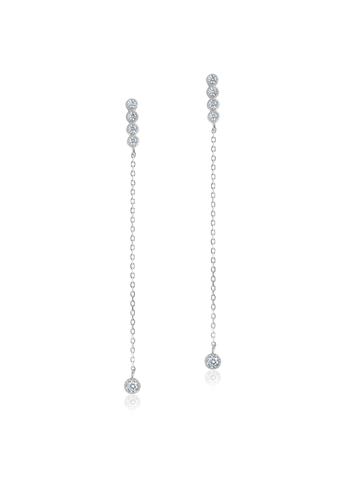 Diamond and Silver Dangle Chain Earrings