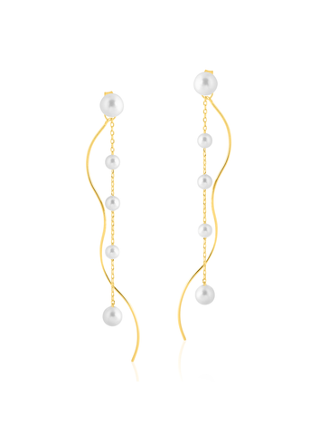 Pearl post drop earrings