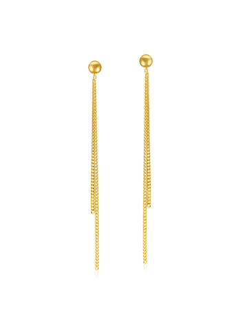 Gold bead hanging chain earrings
