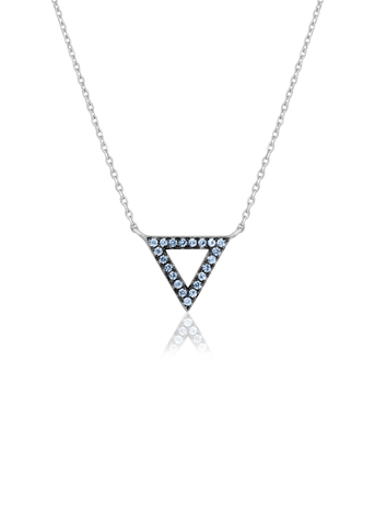 Stone encrusted triangle charm necklace
