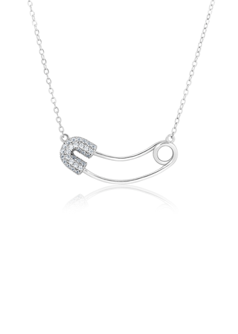 Silver safety pin charm necklace