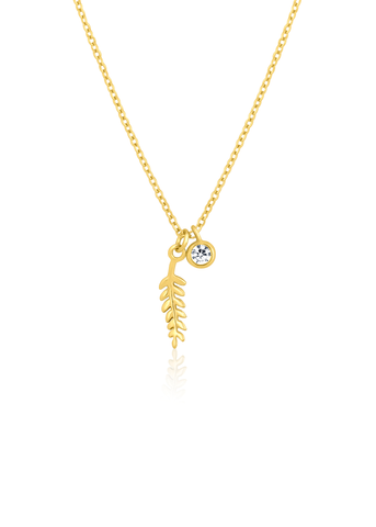 Feather charm gold necklace