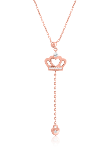 Pink Gold Color Crown Necklace
