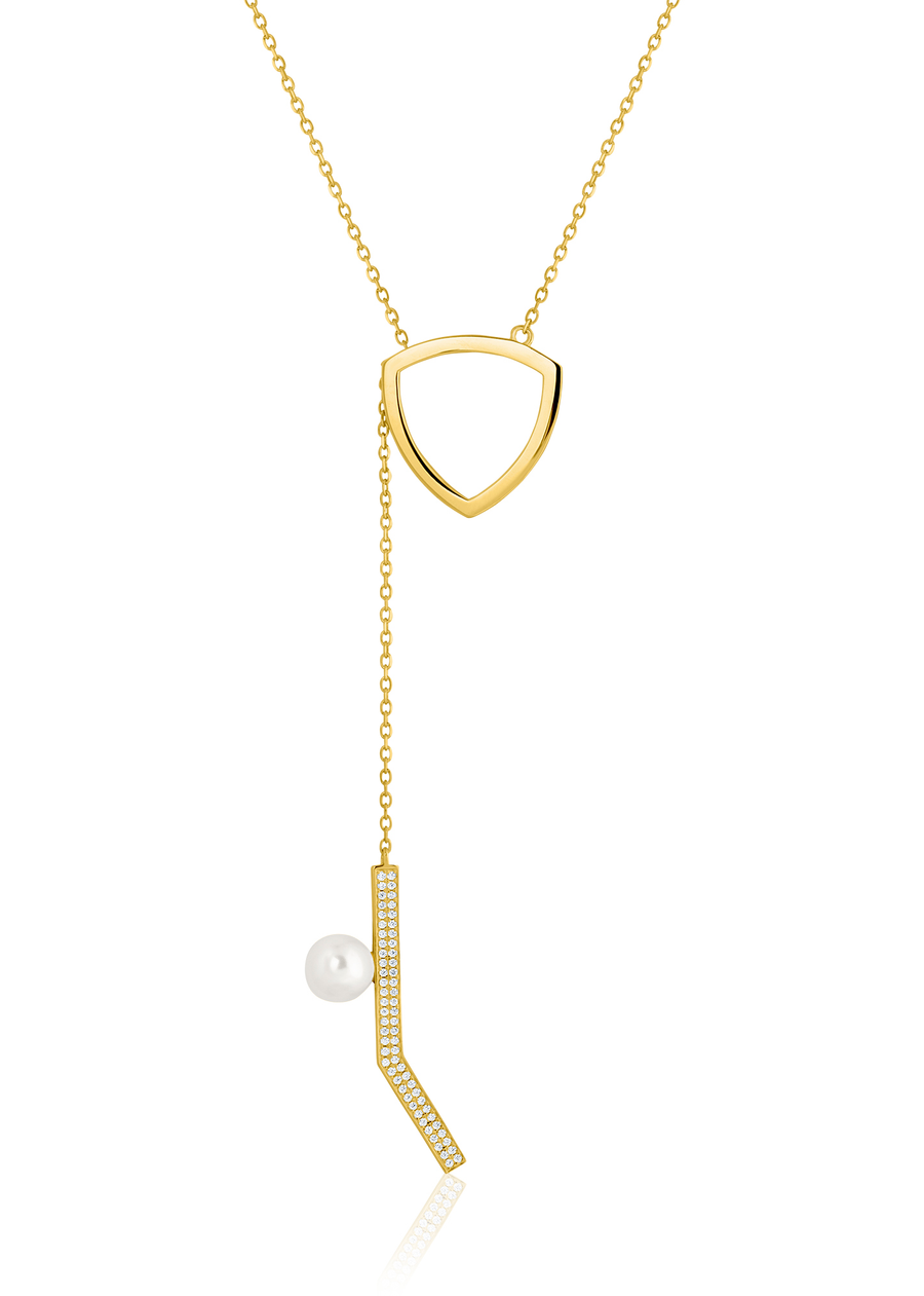 Gold Pearl Abstract Necklace