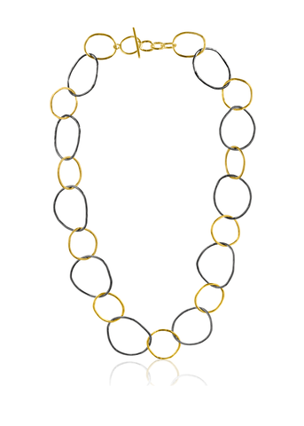 Mixed metal hoop necklace