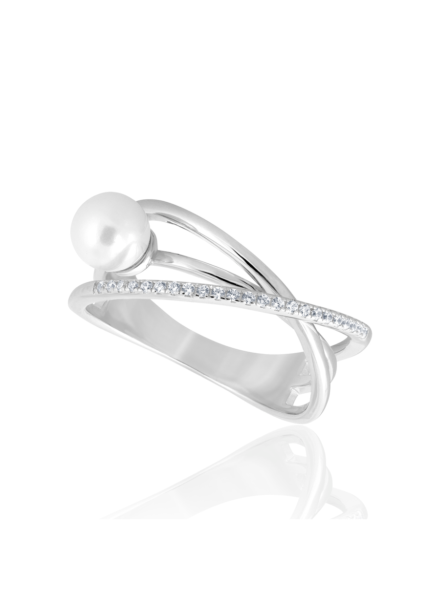 Asymmetrical Silver and Pearl Ring