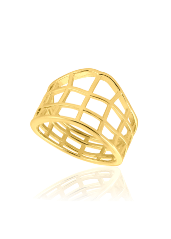 Gold crosshatch ring