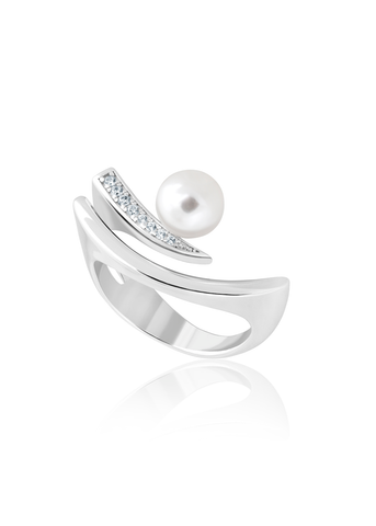 Abstract silver and pearl ring