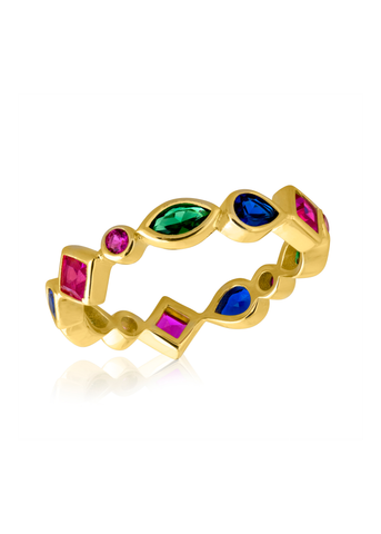 Multicolored stone gold ring