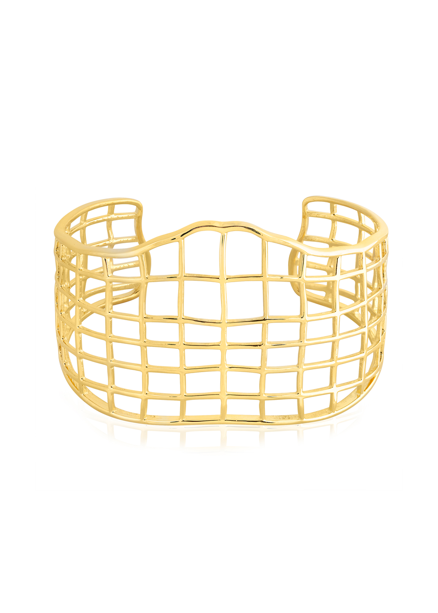 Gold Cross-Hatched Cuff