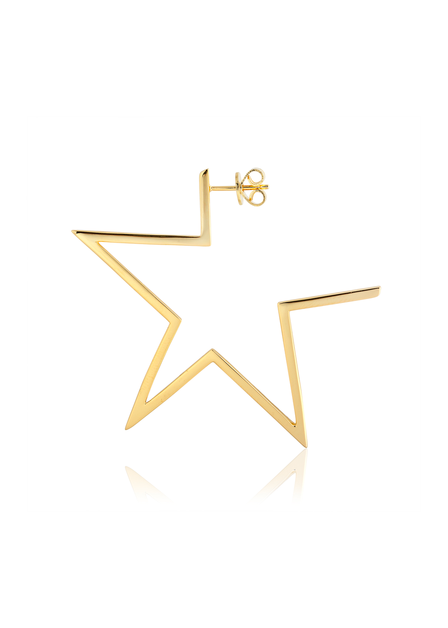 Gold Star Silhouette Post Earrings