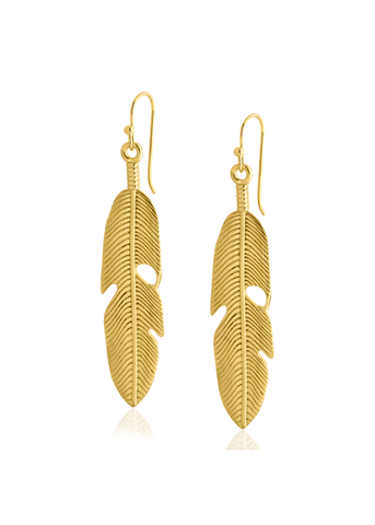 Gold dipped feather drop earrings
