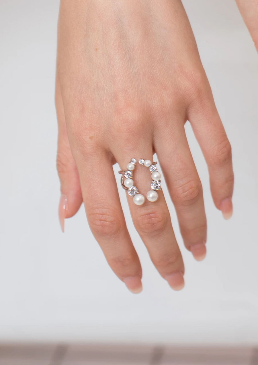 Horse Shoe Diamond and Pearl Ring