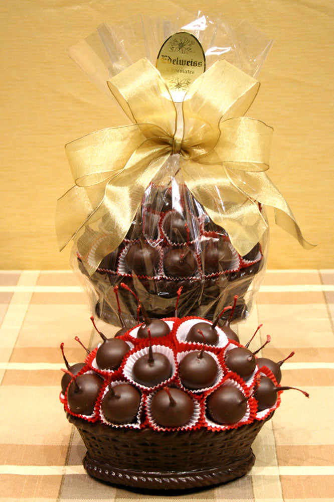 Large Cordial Cherry Dark Chocolate Basket - Edelweiss Chocolates