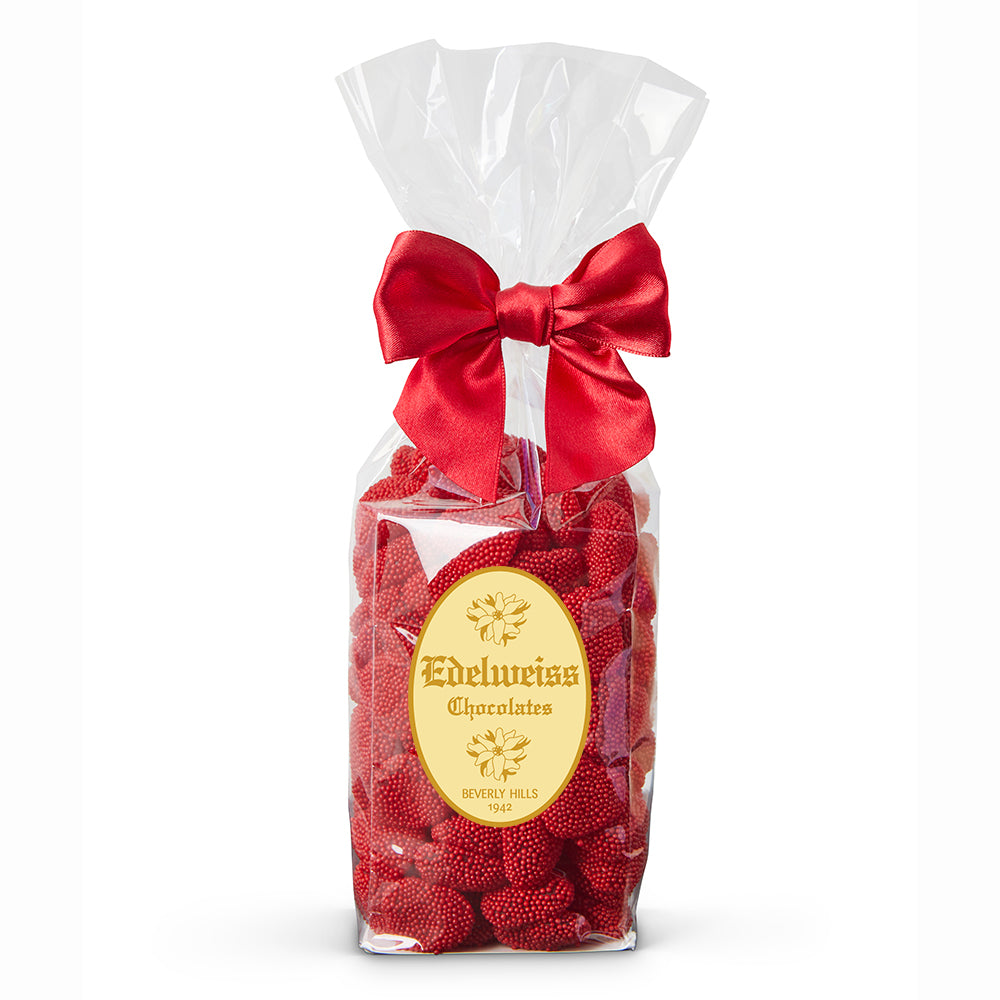 Raspberry Gummy Hearts - Edelweiss Chocolates - Gourmet Premium Handmade Chocolates made in Beverly Hills and Los Angeles