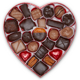 Black Tux With Tie Fabric Heart Box (1lb) - Edelweiss Chocolates