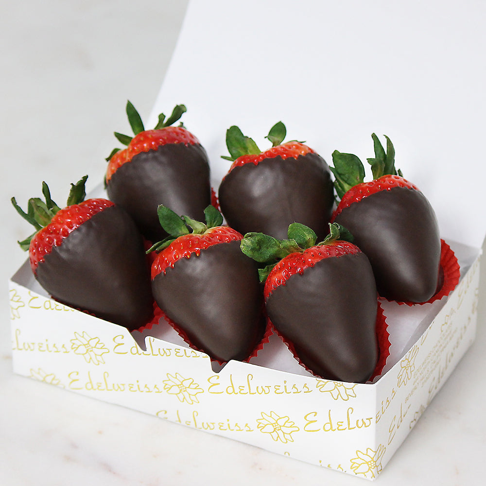 Chocolate Covered Strawberries 6 Piece Gift Box Edelweiss Chocolates