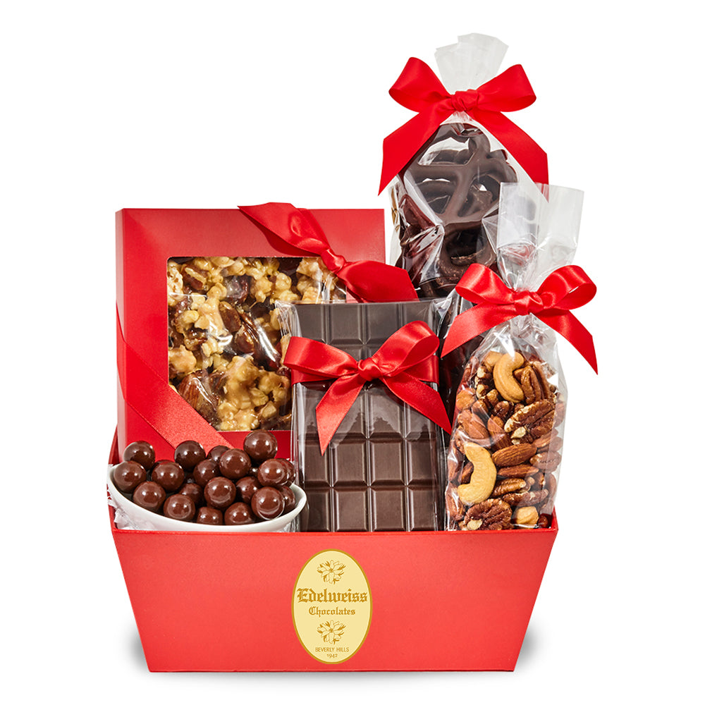 Sweets & Treats Gift Basket - Edelweiss Chocolates Gourmet Premium Milk Dark Chocolate Gift Los Angeles Beverly Hills Handmade Handcrafted Candy