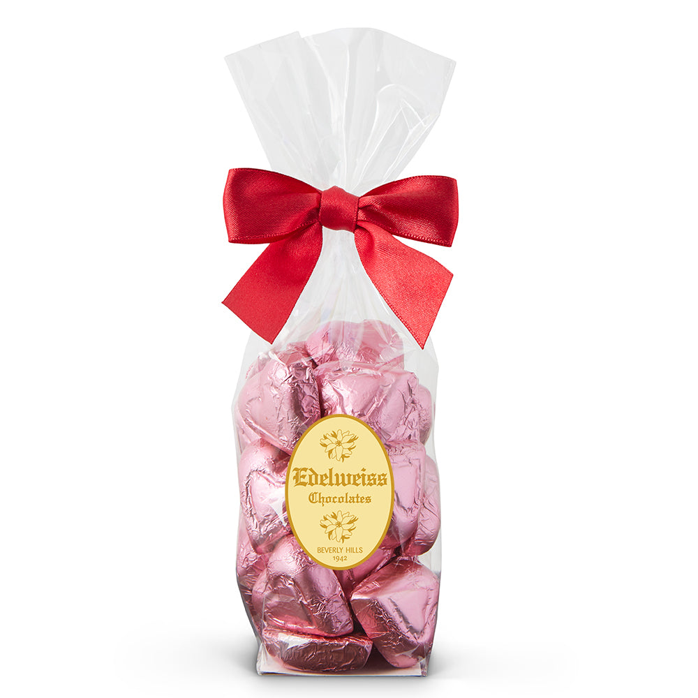 Milk Chocolate Pink Foiled Hearts - Edelweiss Chocolates