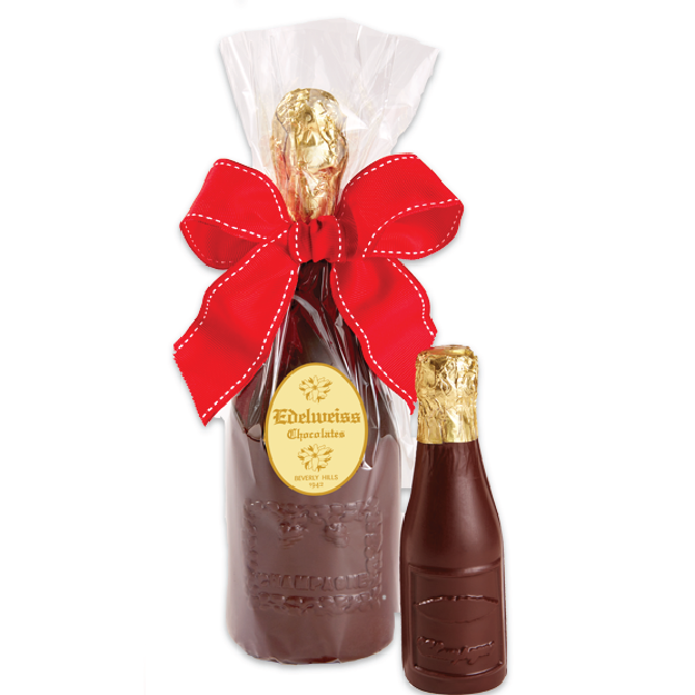 Champagne Bottle Large - Edelweiss Chocolates Gourmet Premium Milk Dark Chocolate Gift Los Angeles Beverly Hills Handmade Handcrafted Candy