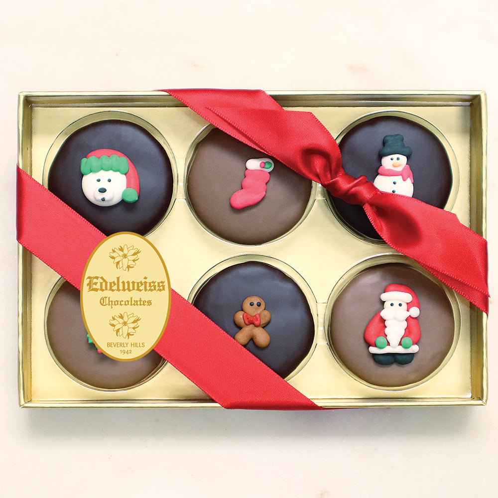Gourmet Handmade Chocolate Christmas Oreos (6 Piece Gift Box)