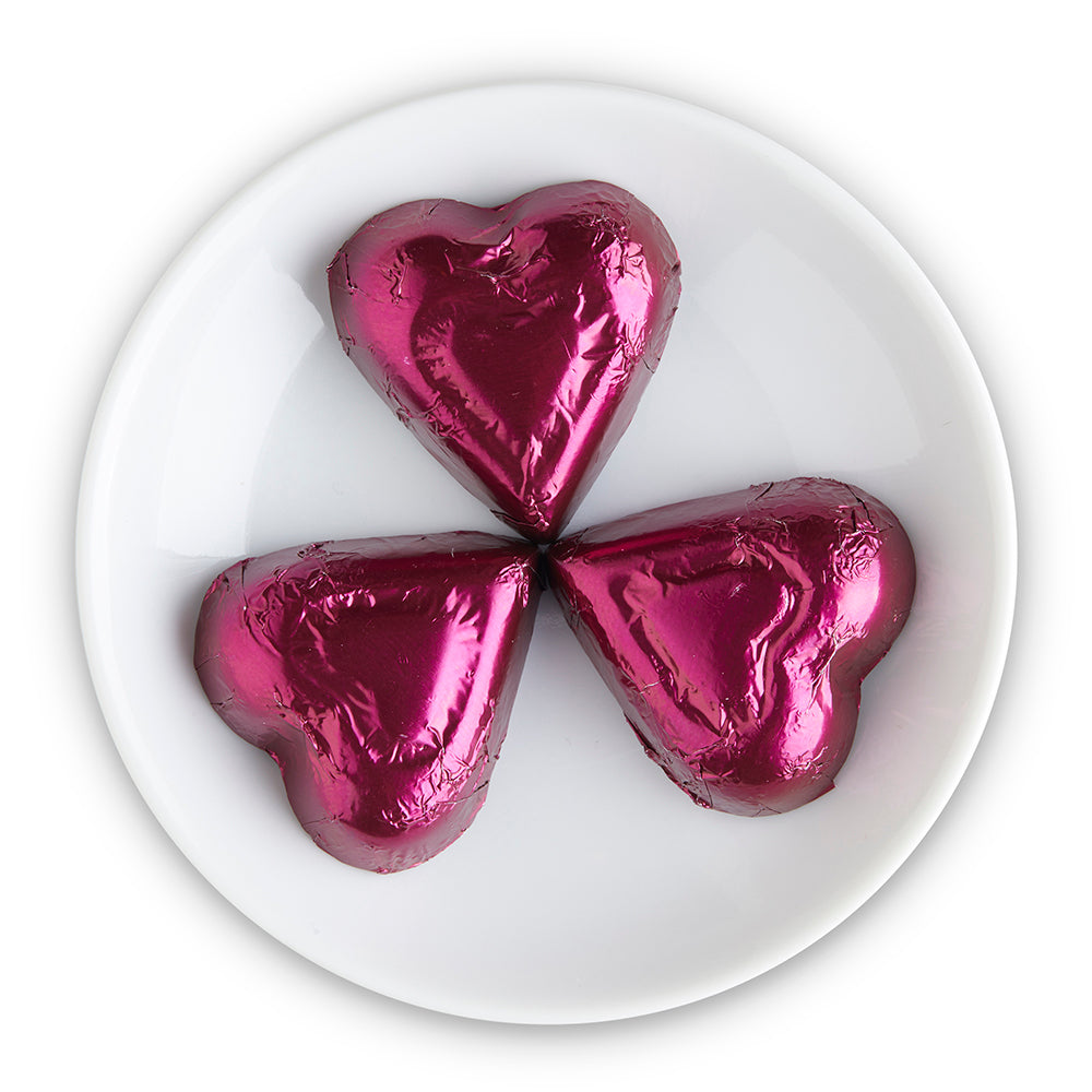 Extra Dark Chocolate Purple Foiled Hearts - Edelweiss Chocolates